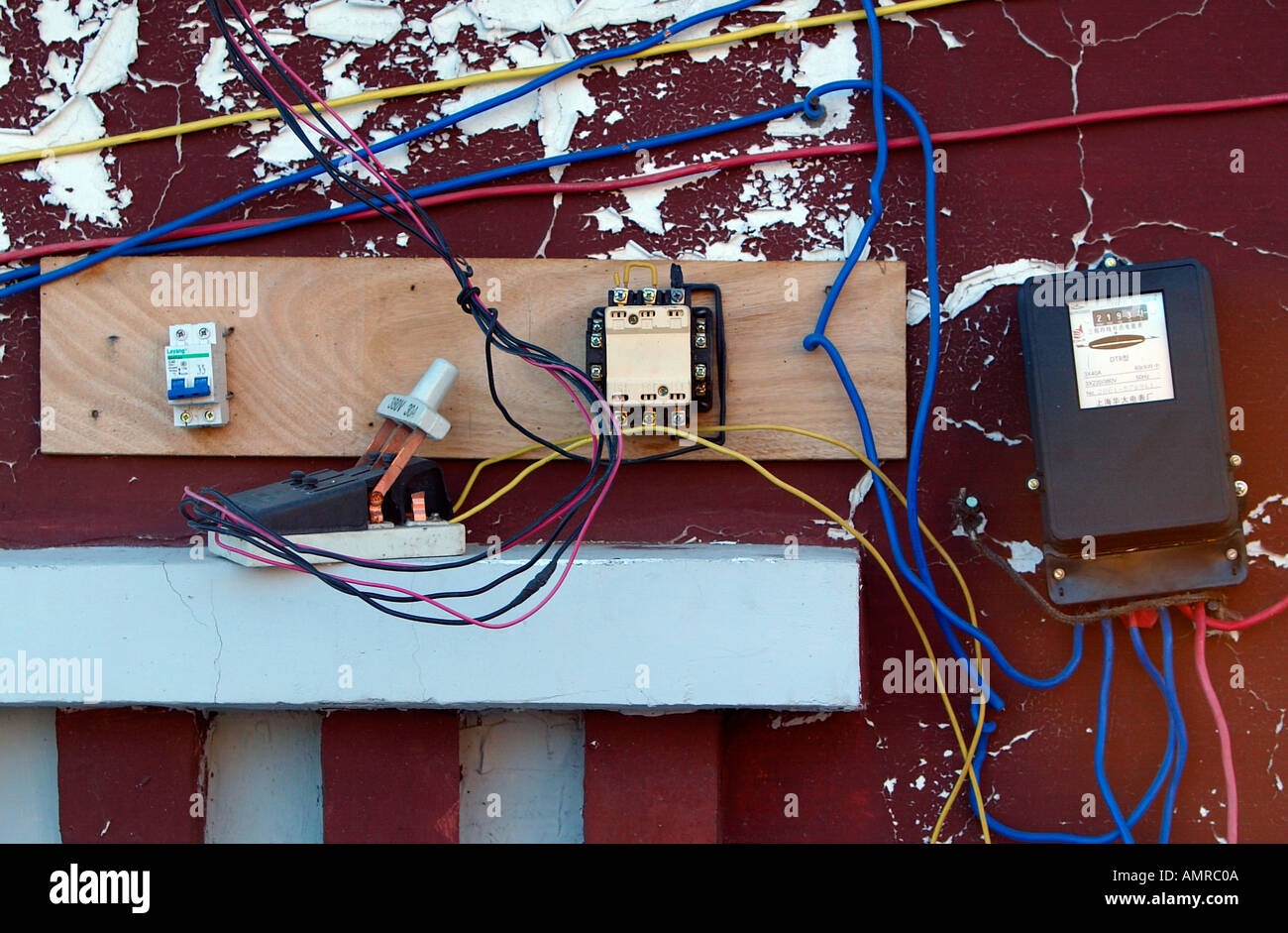 Substandard outside electrical wiring hotel roof Tibet