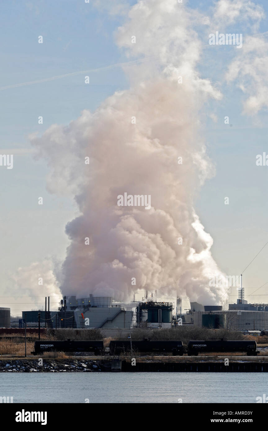 Air pollution from factory along the St Clair River near Port Huron Michigan Stock Photo