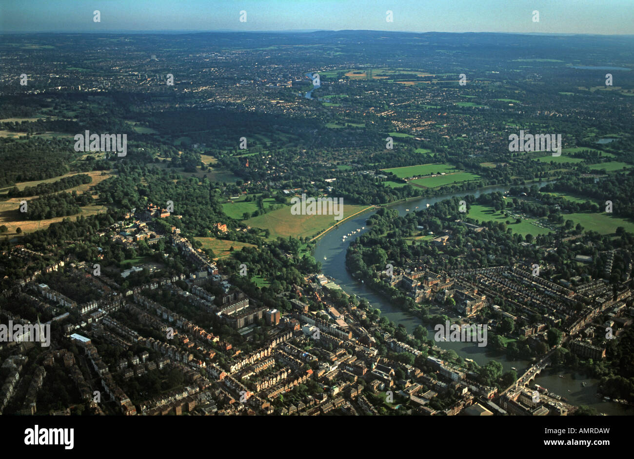Aerial view of Richmond Bridge and Richmond Hill River Thames London England - Stock Image