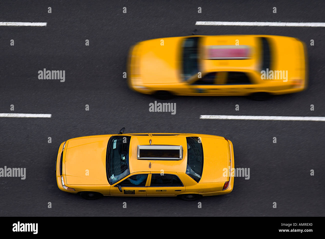 Taxis on 8th Avenue, New York City, New York, USA Stock Photo