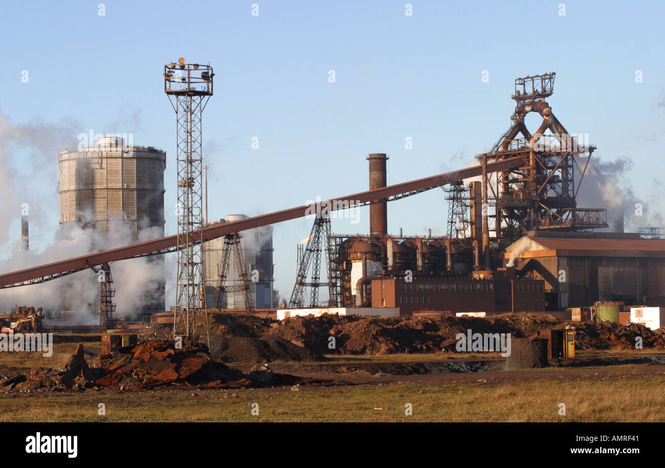 SSI blast furnace and steel factory Redcar Teesside Cleveland - Stock Image