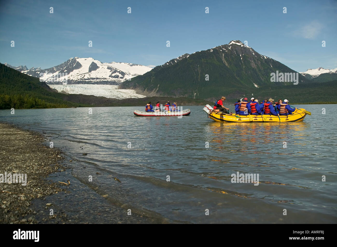 USA, Alaska, Inside Passage, Juneau, Mendenhall Lake, Rafting - Stock Image