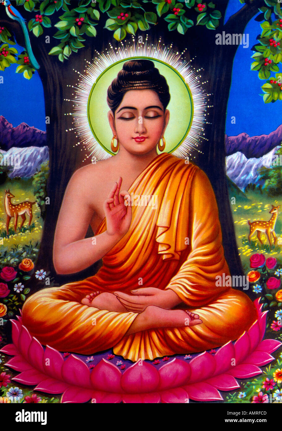 Deity sitting on lotus stock photos deity sitting on lotus stock buddha under bodhi tree sitting on a lotus flower indian painting stock image izmirmasajfo