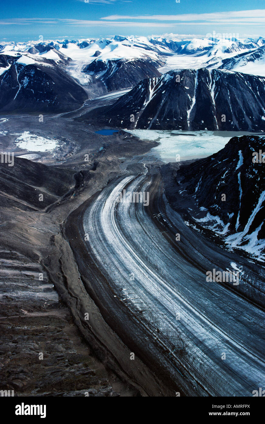 Aerial View Of Norman Glacier, Glacier Lake, Mt Battle Auyuittuq National Park, Nunavut, Canada Stock Photo