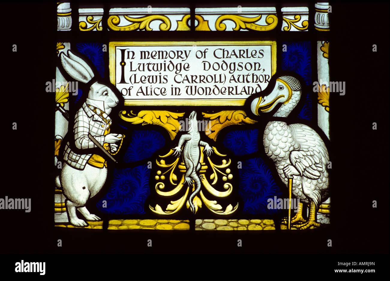 Lewis Carroll stained glass memorial window #1, Daresbury church, Cheshire, UK. - Stock Image