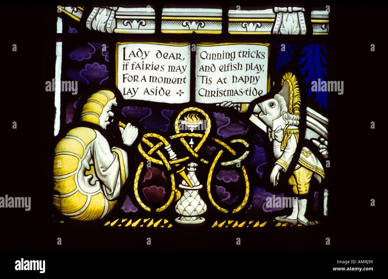 Lewis Carroll stained glass memorial window #2, Daresbury church, Cheshire, UK. - Stock Image