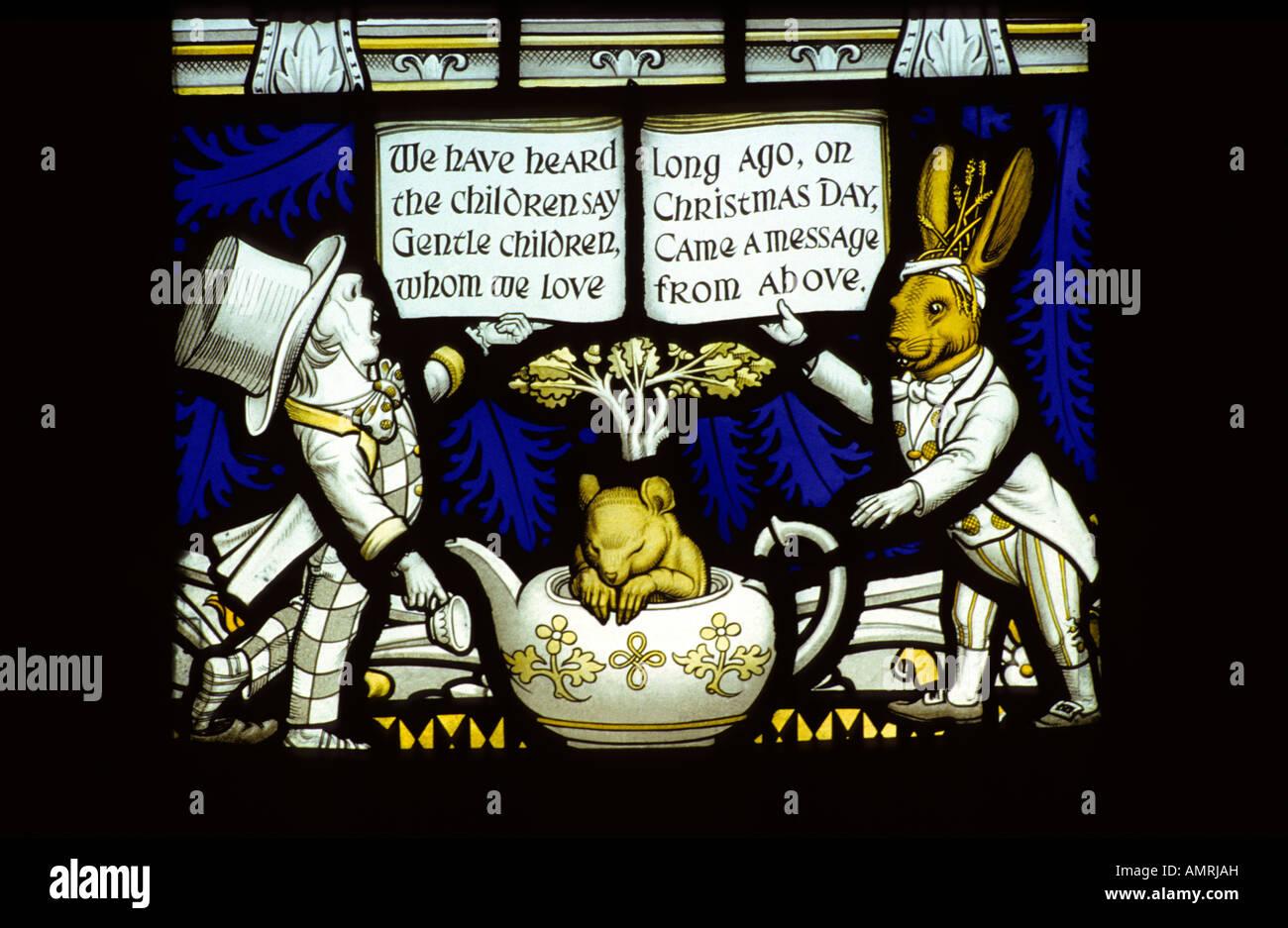 Lewis Carroll stained glass memorial window #3, Daresbury church, Cheshire, UK. - Stock Image
