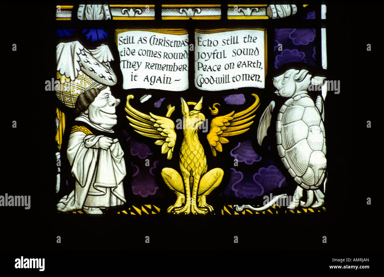 Lewis Carroll stained glass memorial window #4, Daresbury church, Cheshire, UK. - Stock Image