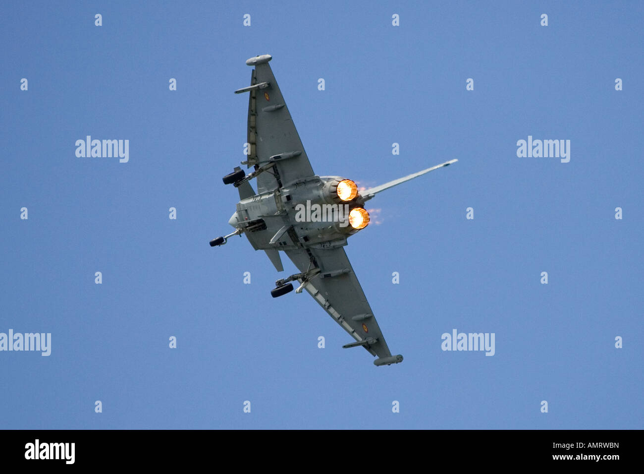 Royal Air Force Eurofighter Typhoon T1 twin-engine multi role canard delta strike fighter aircraft with after burners - Stock Image