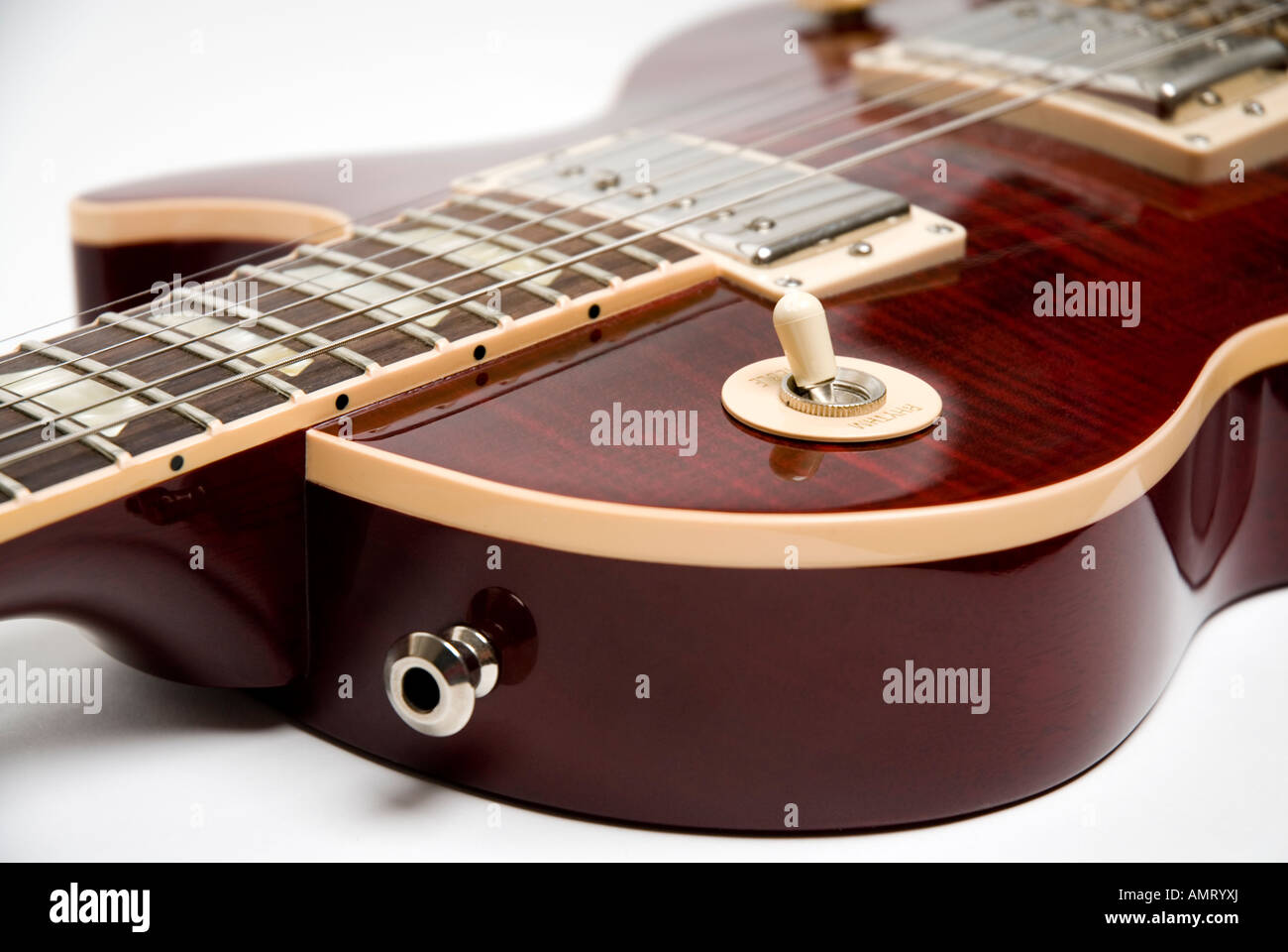 Gibson Les Paul Stock Photos Images Alamy 1958 Wiring Diagram Close Up Of Wine Red Guitar Showing Humbucker Pickups Frets Strings