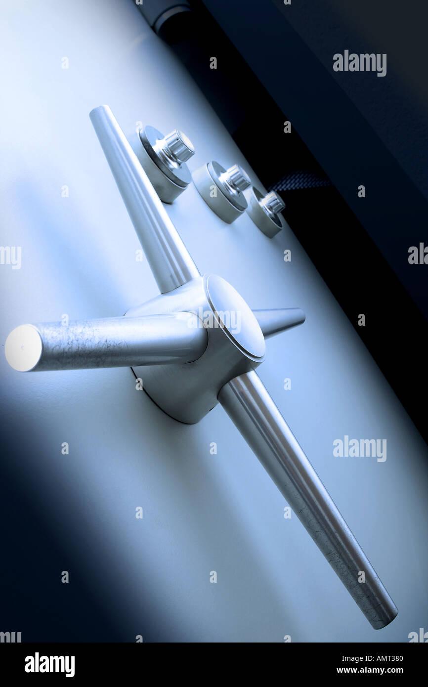 Safe bank vault door, close-up - Stock Image
