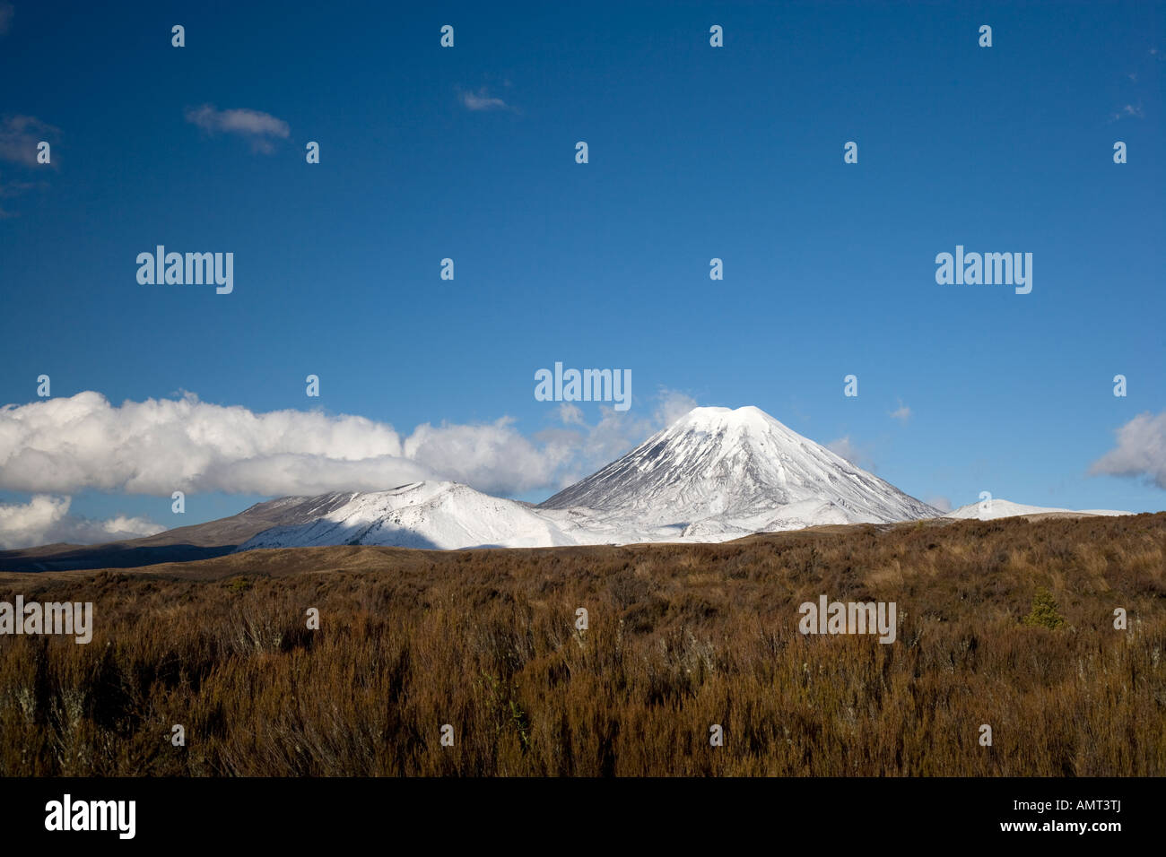 View of a snow covered Mount Ngauruhoe volcano, New Zealand Stock Photo