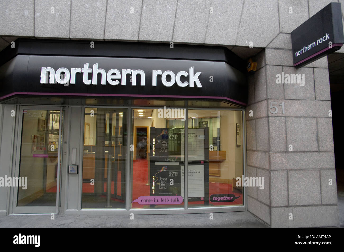a branch of the troubled Northern Rock bank in London England UK Stock Photo