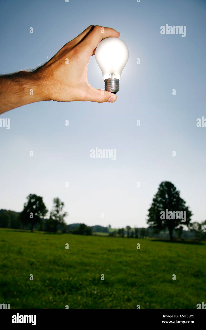 photo of holding a bulb against the sun - Stock Image