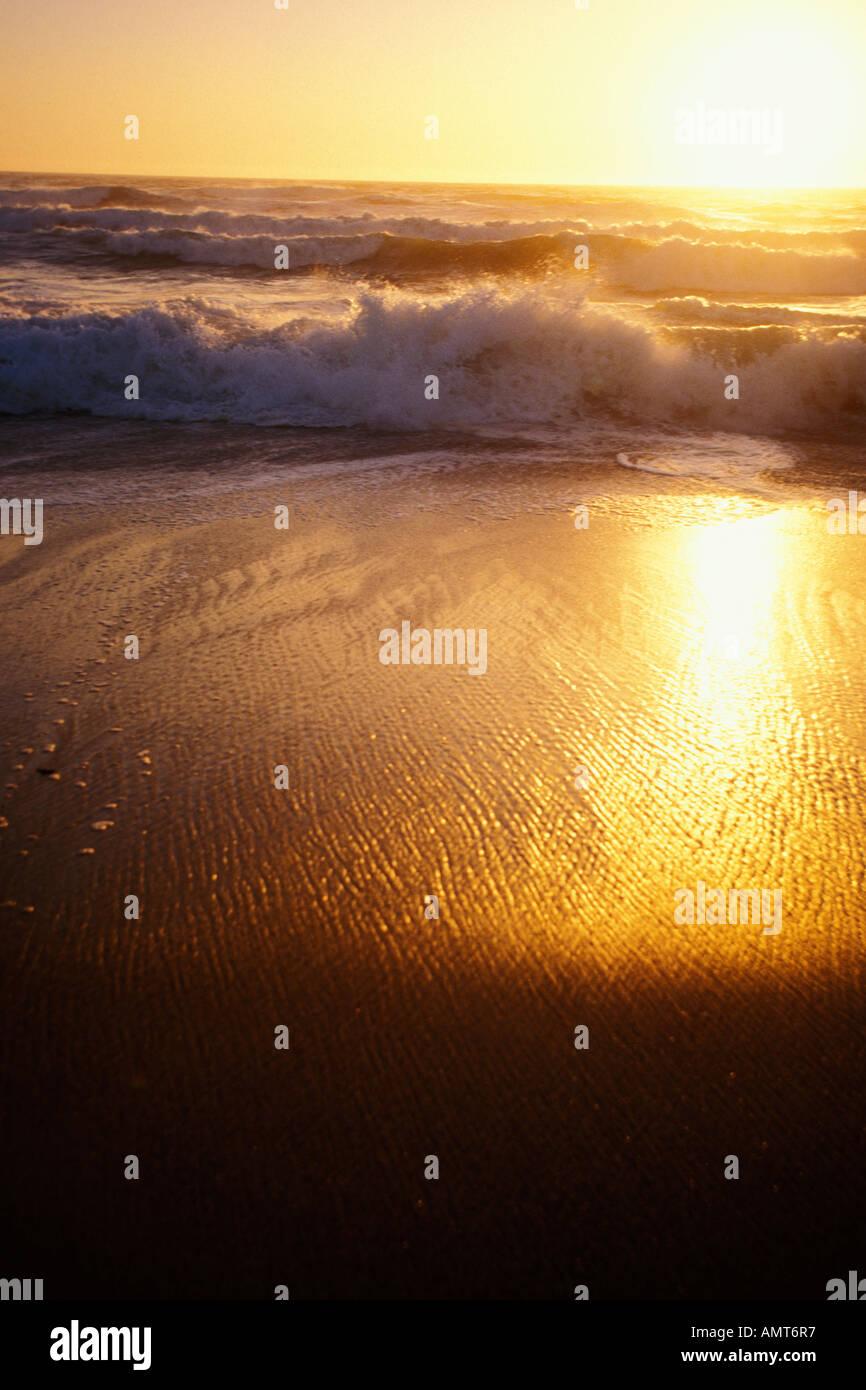 California, Moss Landing, Salinas River State Park, Beach at sunset Stock Photo