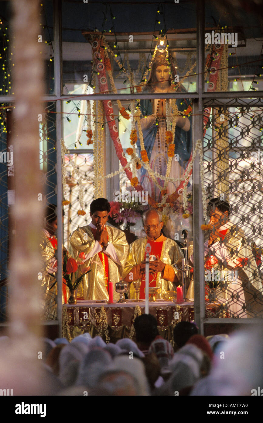 India, Kerala, Priests, Catholic church, near Quilon Stock