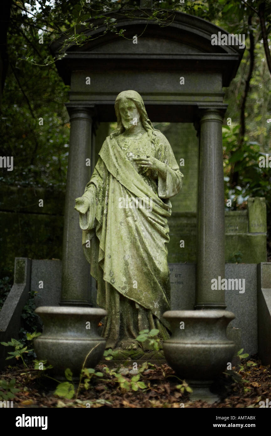 Jesus Christ sculpture in Highgate Cemetery in London England UK - Stock Image
