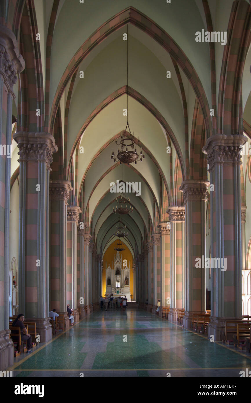 Interior of the Cathedral at the main Square of Plaza Colon in Santa Ana city the Republic of El Salvador Central America - Stock Image