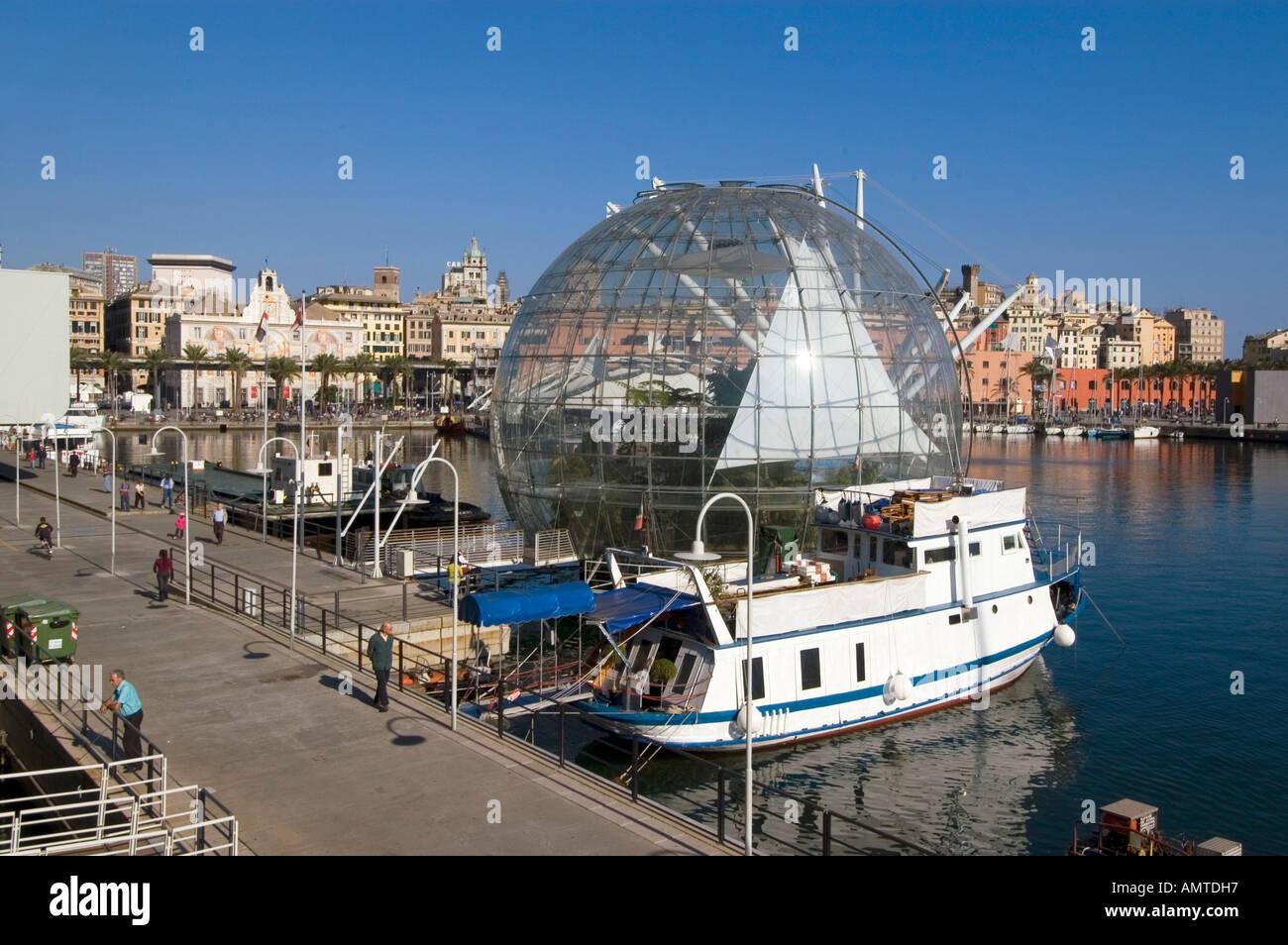 Genoa Genova Liguria Italy harbor Renzo Piano sphere biosphere - Stock Image