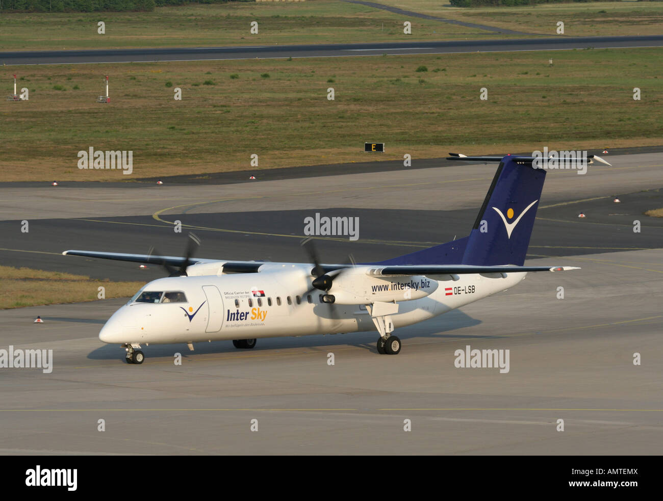 InterSky Bombardier Dash 8-Q300 regional airliner at Cologne/Bonn Airport, Germany - Stock Image