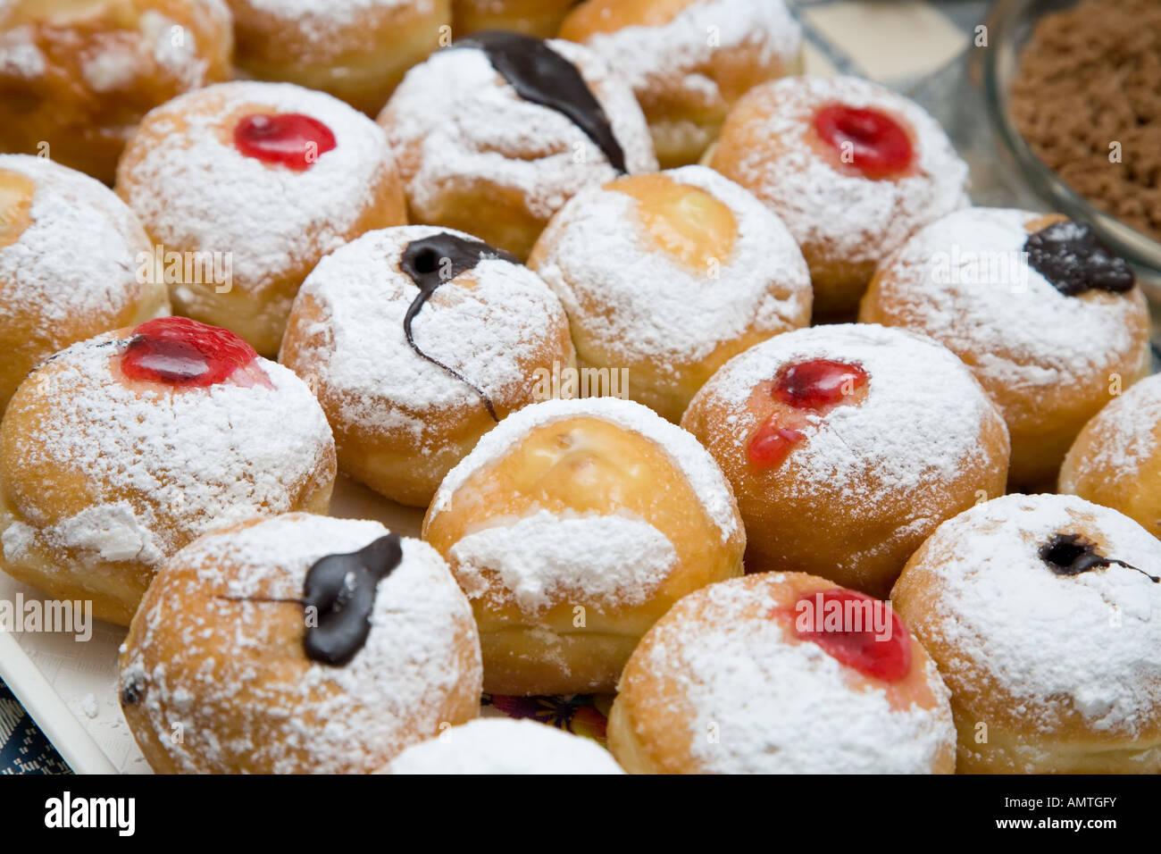 Stock Photo of Traditional Jewish Sufganiyot Doughnuts - Stock Image