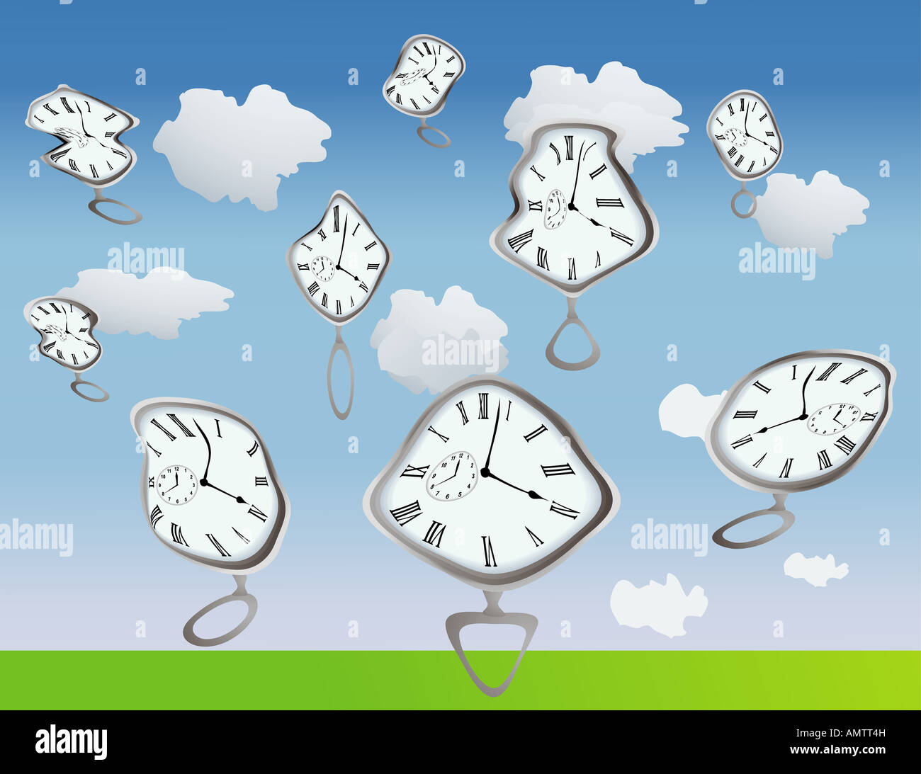 Clockes getting warped by well they are just warped use your imagination - Stock Image