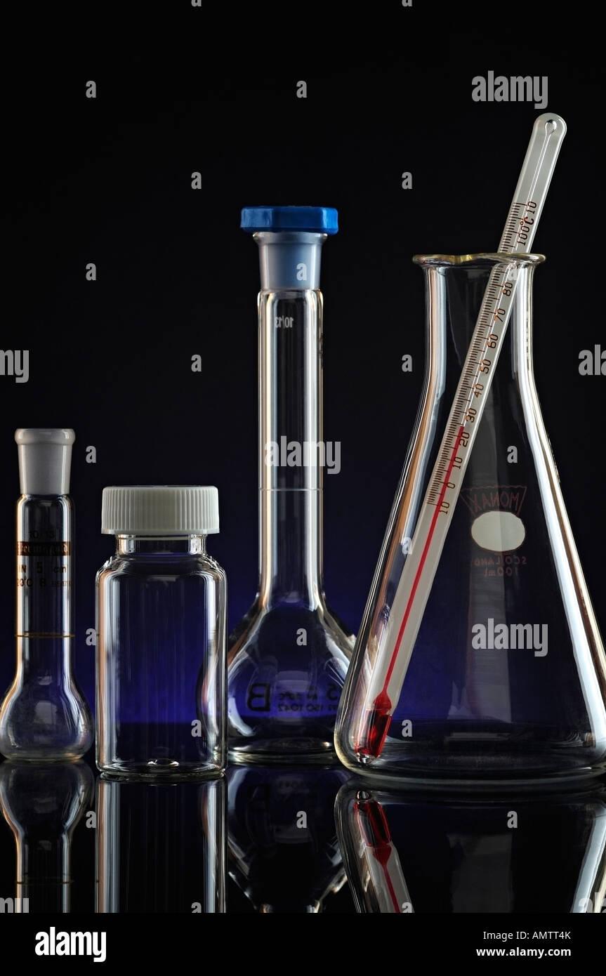 Laboratory Glassware Equipment Close Up - Stock Image