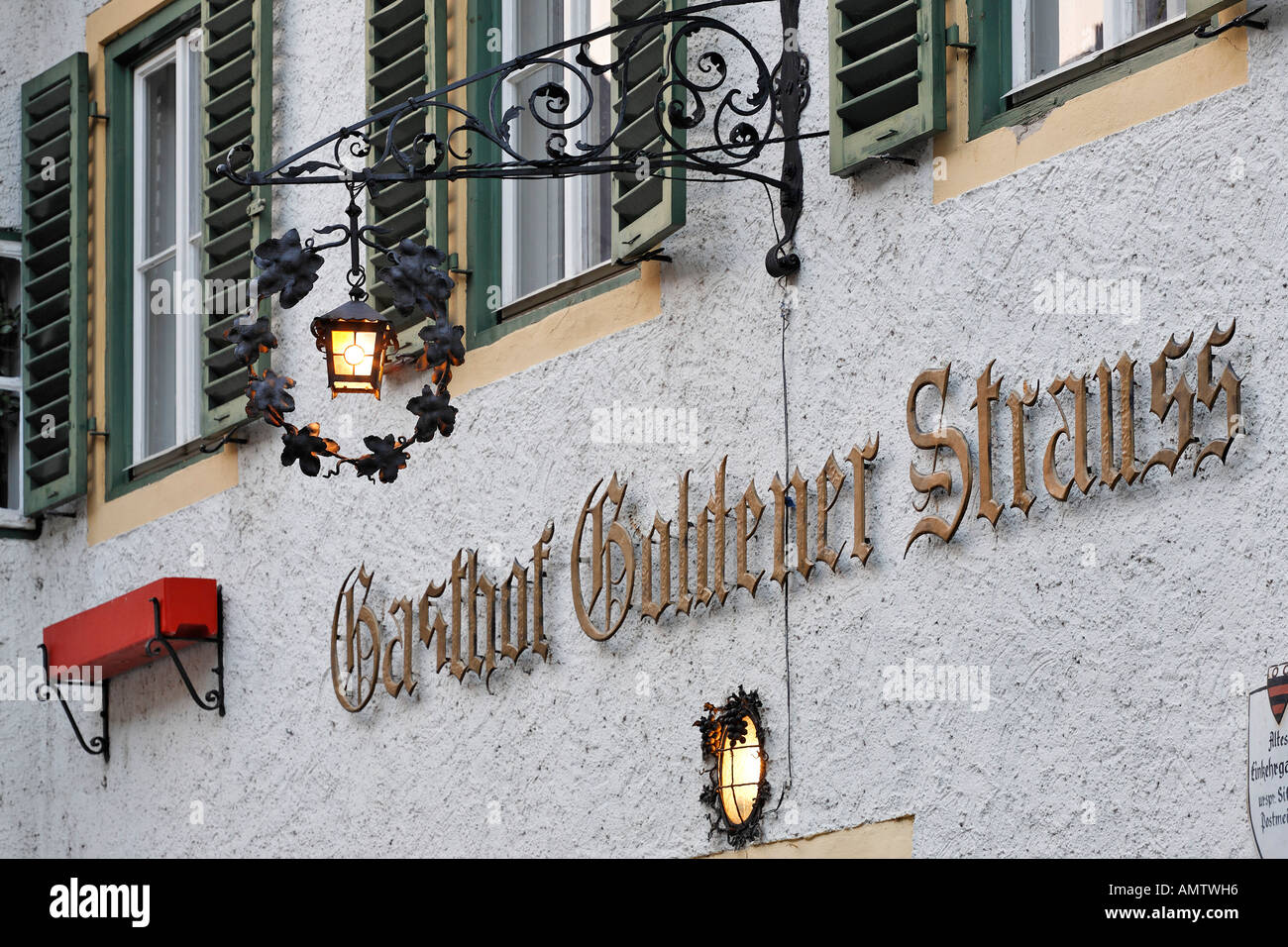 restaurant Goldener Strauß, Dürnstein, area of Wachau, Lower Austria, Austria Stock Photo