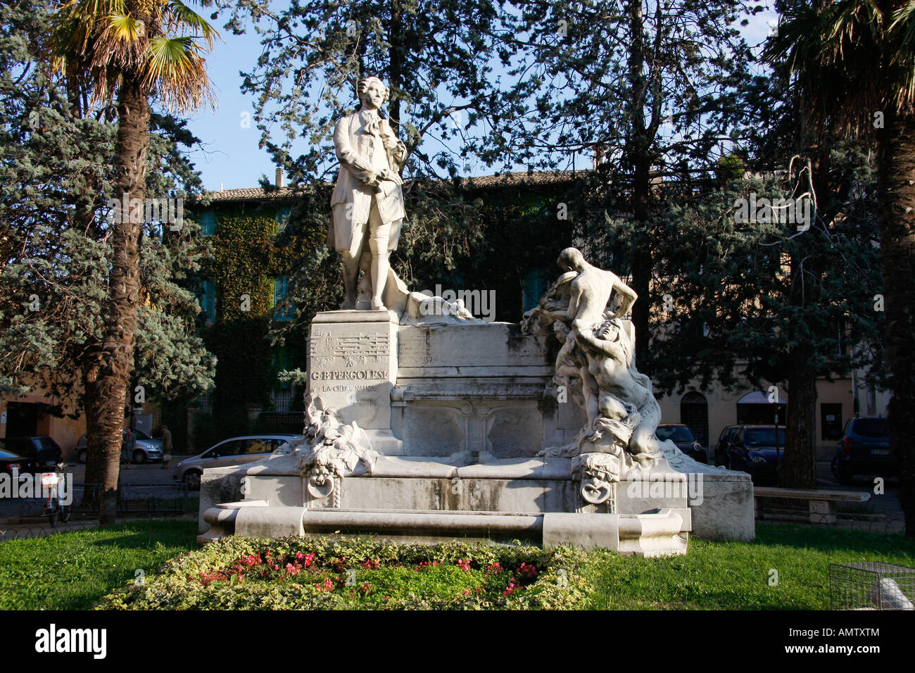 Monument  to G.B. Pergolesi which is situated in a small garden style square. - Stock Image