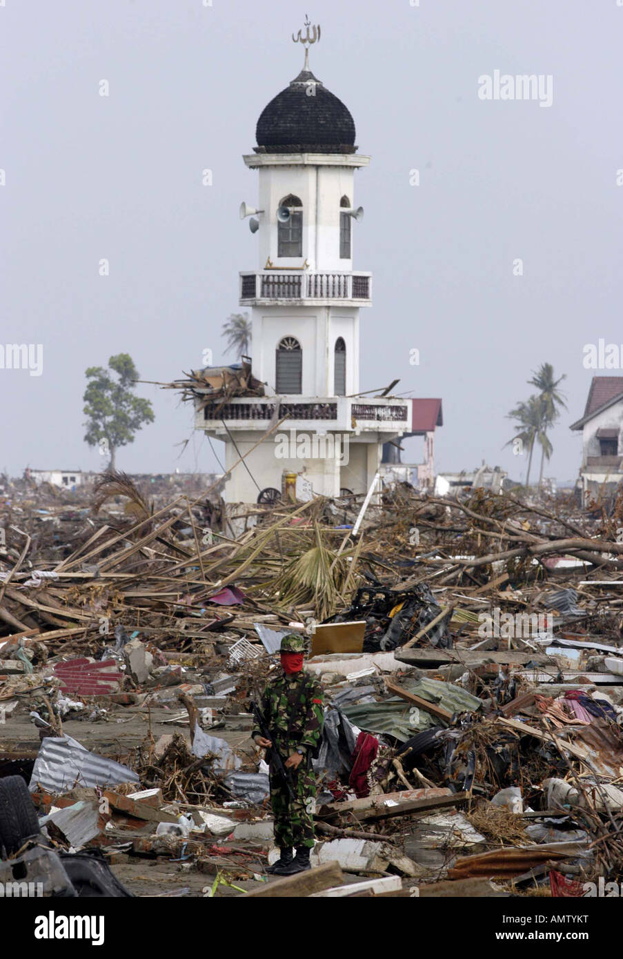 Indonesian Army stands guard after the Tsunami at the in Banda Aceh Indonesia Stock Photo