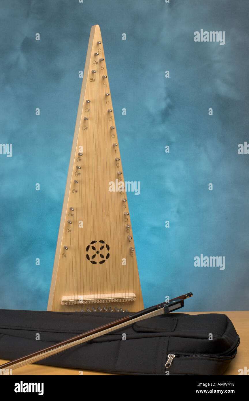 Musical instrument a bowed psaltery based on Victorian reinvention of imagine medieval instrument - Stock Image