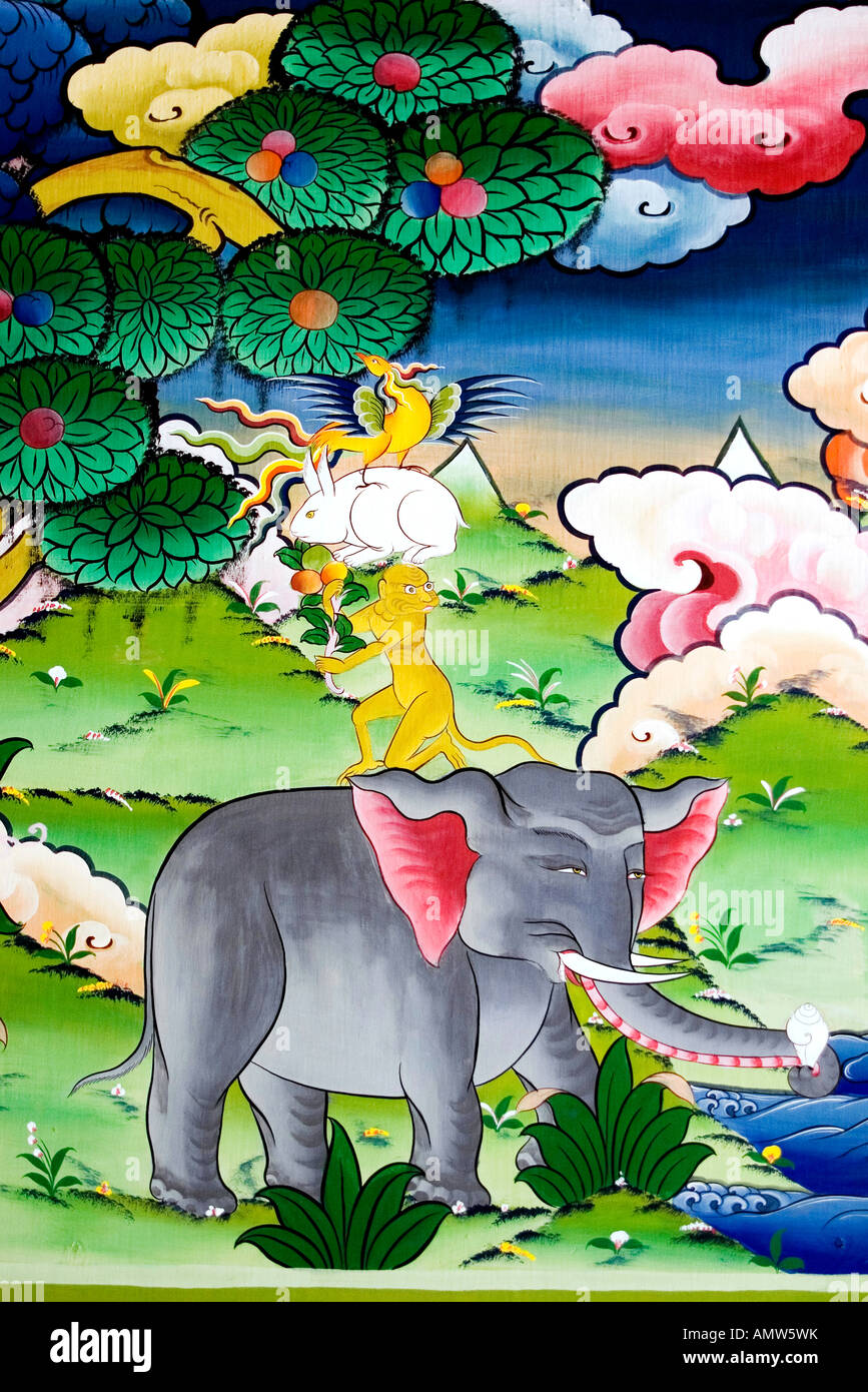 Mural of one of Bhutan's favorite fable: the four harmonious friends. It's a story about friendship and - Stock Image