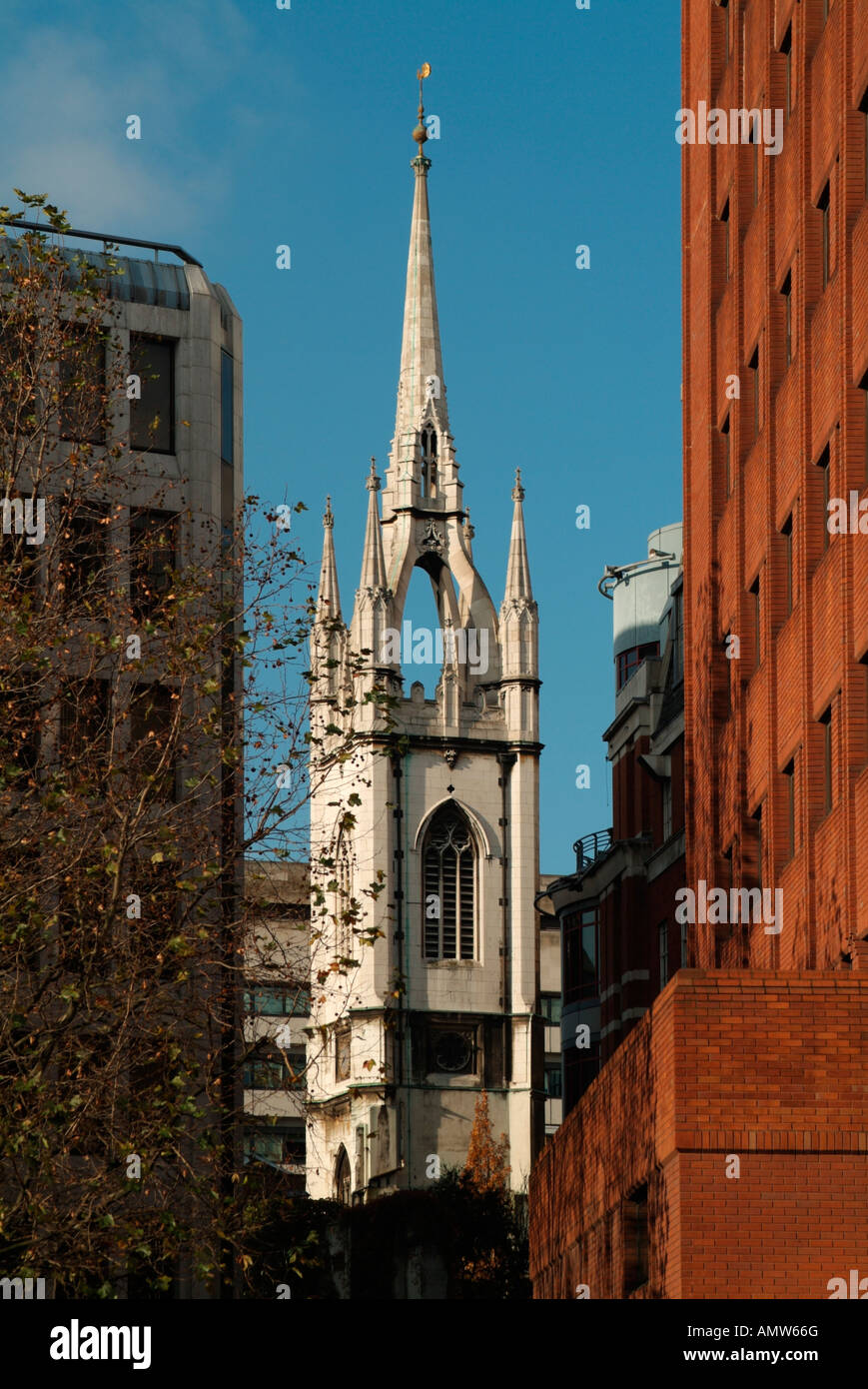 The tower and spire of the church of St Dunstan in the East, London - Stock Image