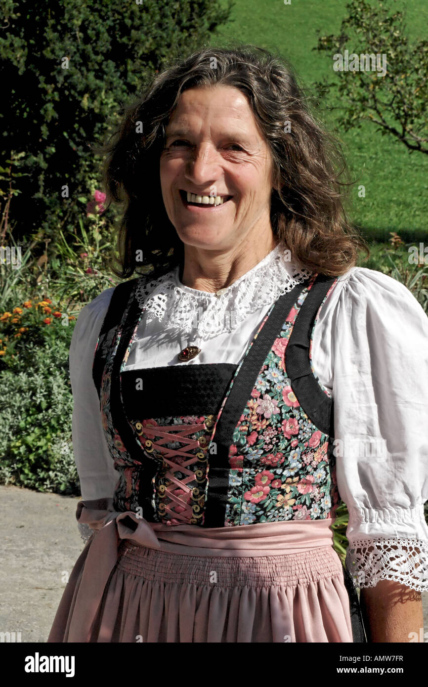Farmer Wearing Traditional Austrian Clothes Stock Photo