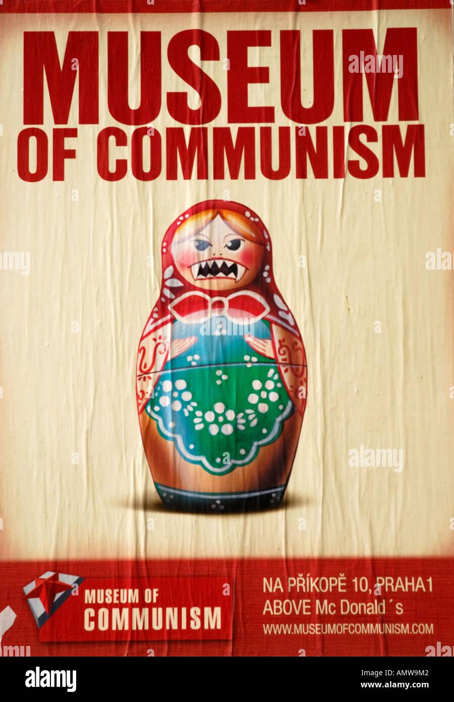 Museum of Communism poster Prague Czech Republic - Stock Image
