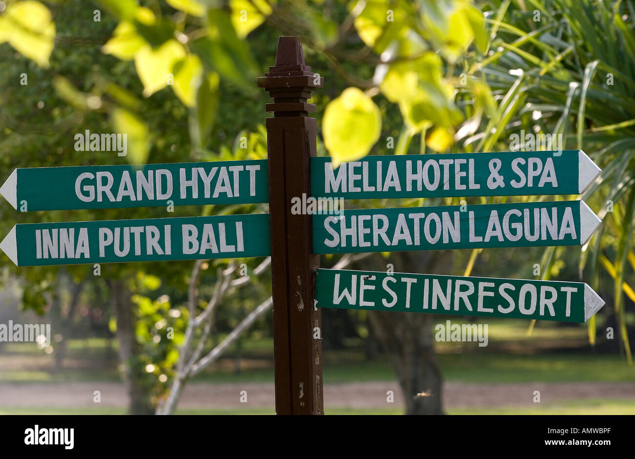 Signboards direction of the hotels Grand Hyatt an Sheraton, beach of Nusa Dua, Bali, Indonesia - Stock Image