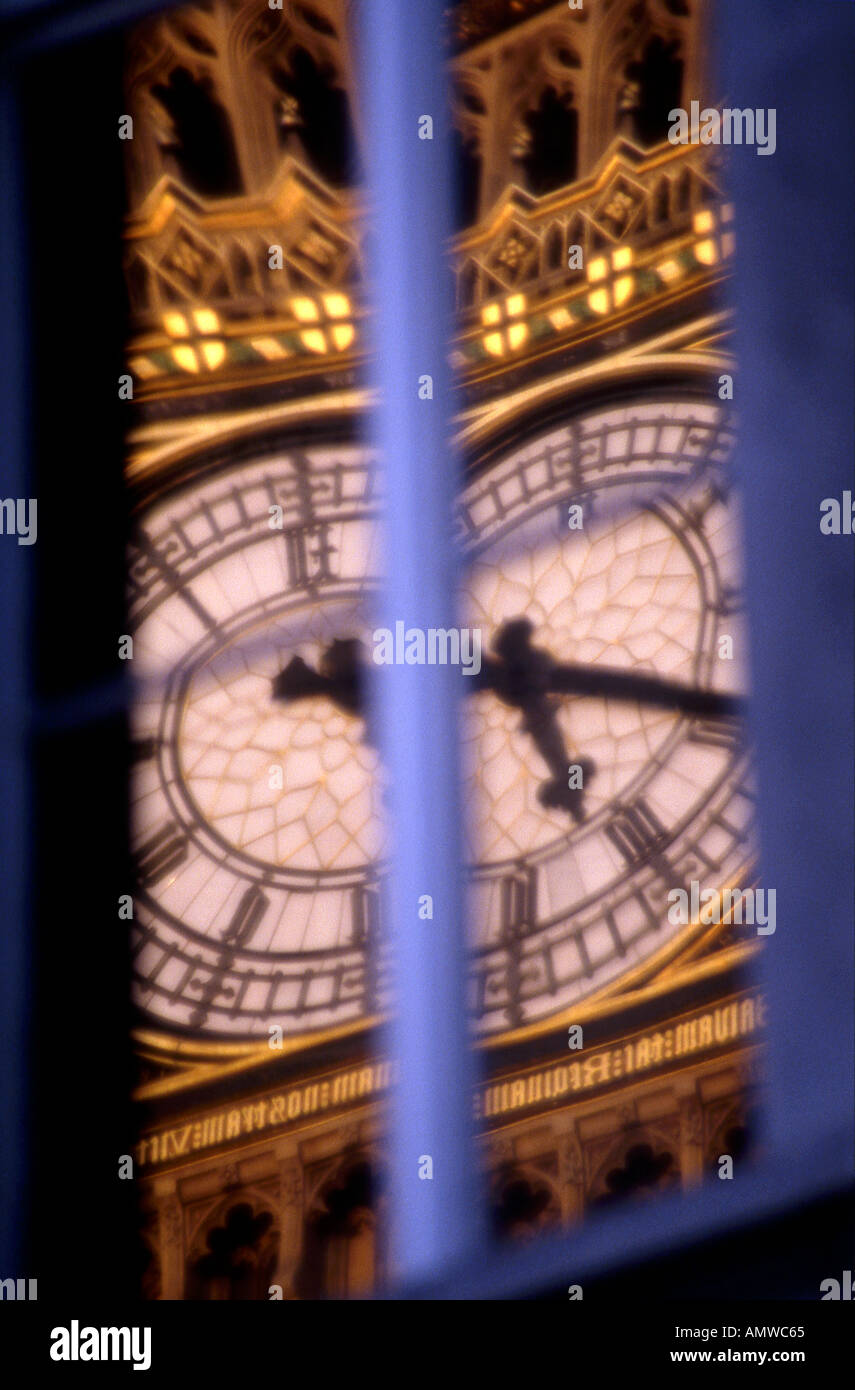 Reflection of Big Ben, Canon Row, London, 1840 - 1888. Architect: Sir Charles Barry - Stock Image