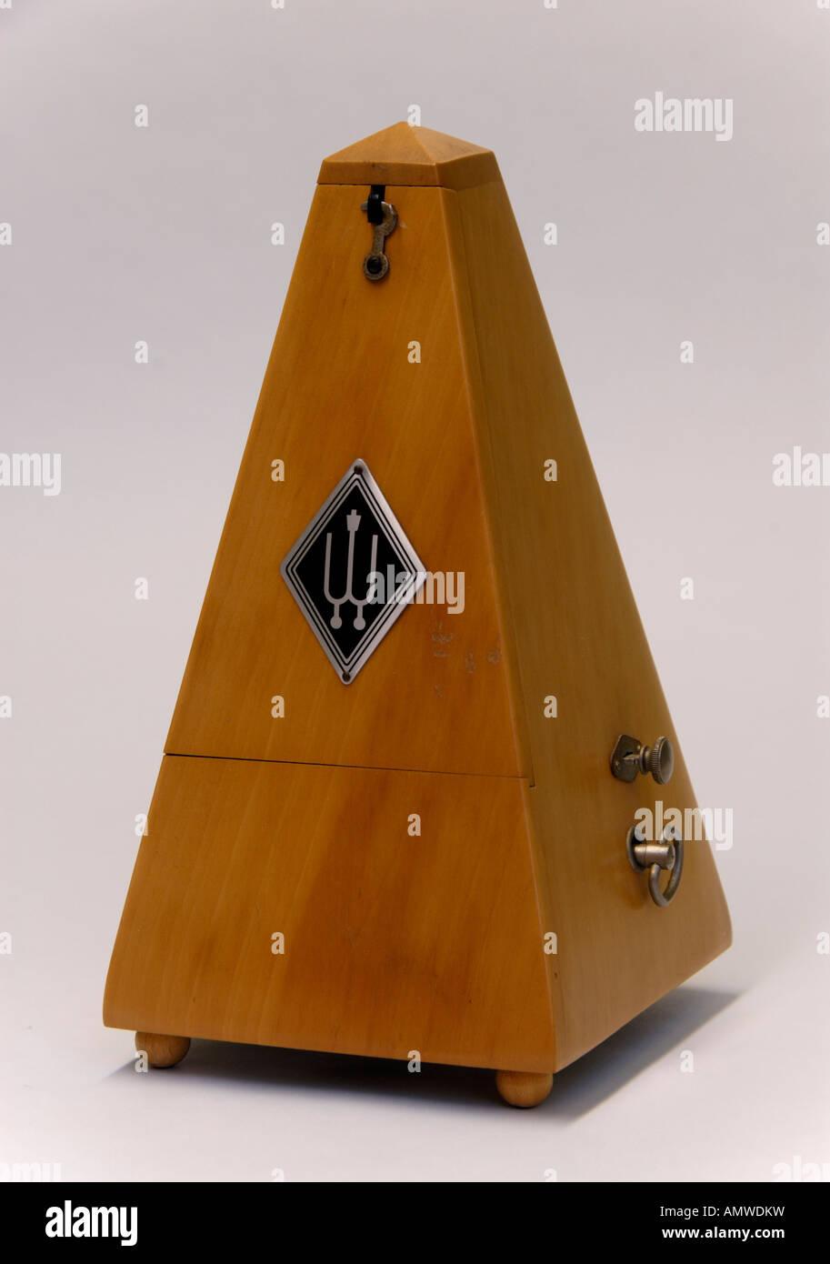 Wittner beechwood clockwork metronome . Made in Germany . - Stock Image