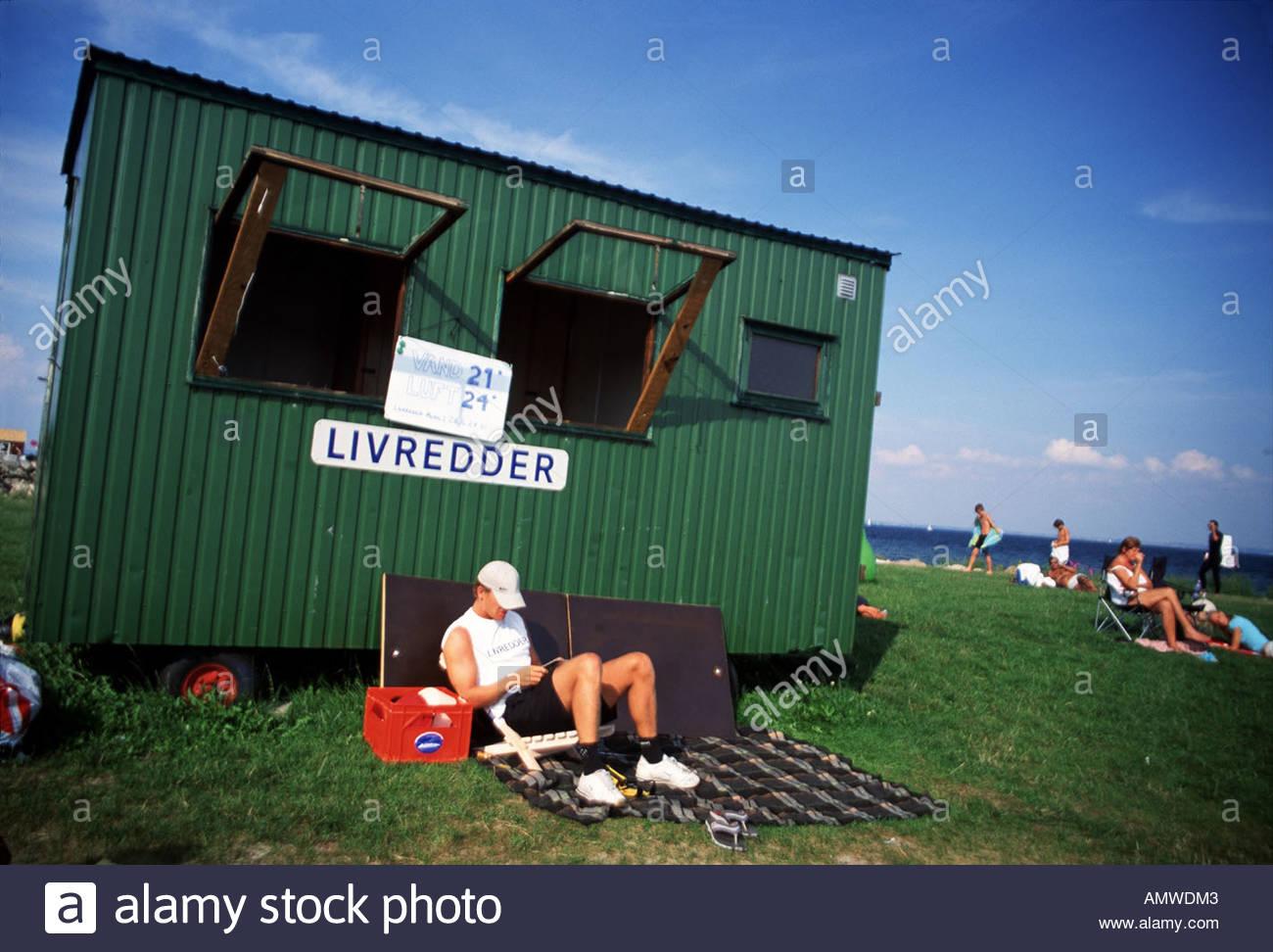 Niva Beach lifeguard, North Zealand, Denmark - Stock Image