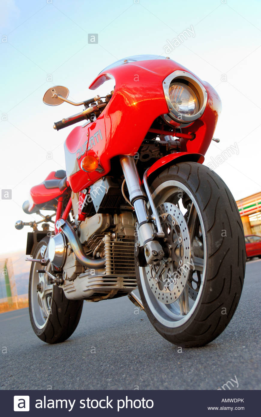 Italian Red Bike Motorbike Ducati Stock Photos & Italian Red