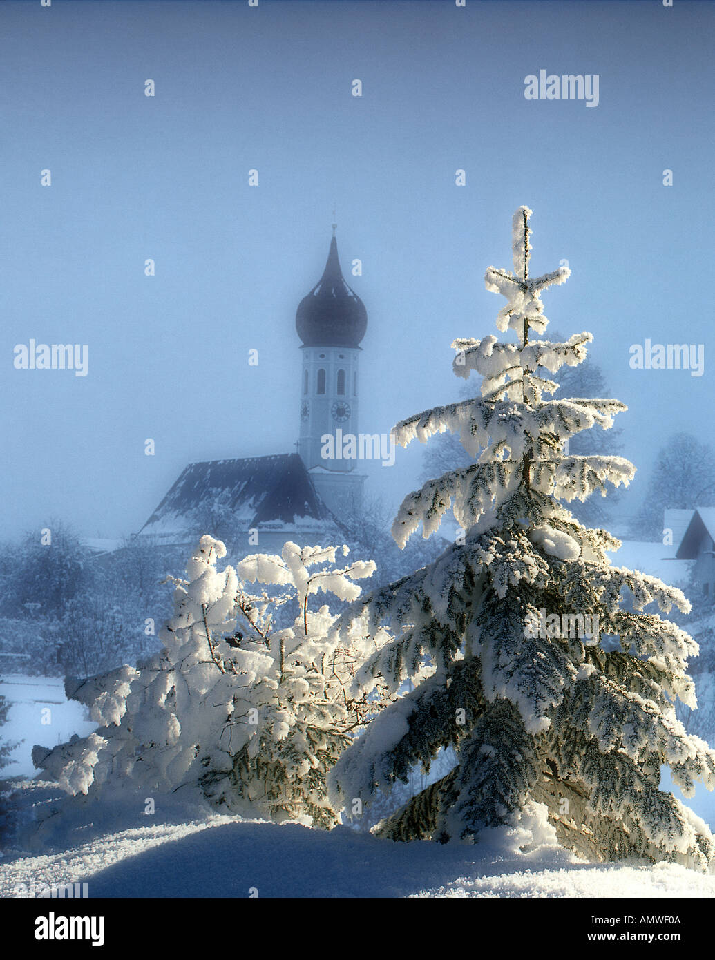 DE - BAVARIA: Wintertime at Irschenberg - Stock Image
