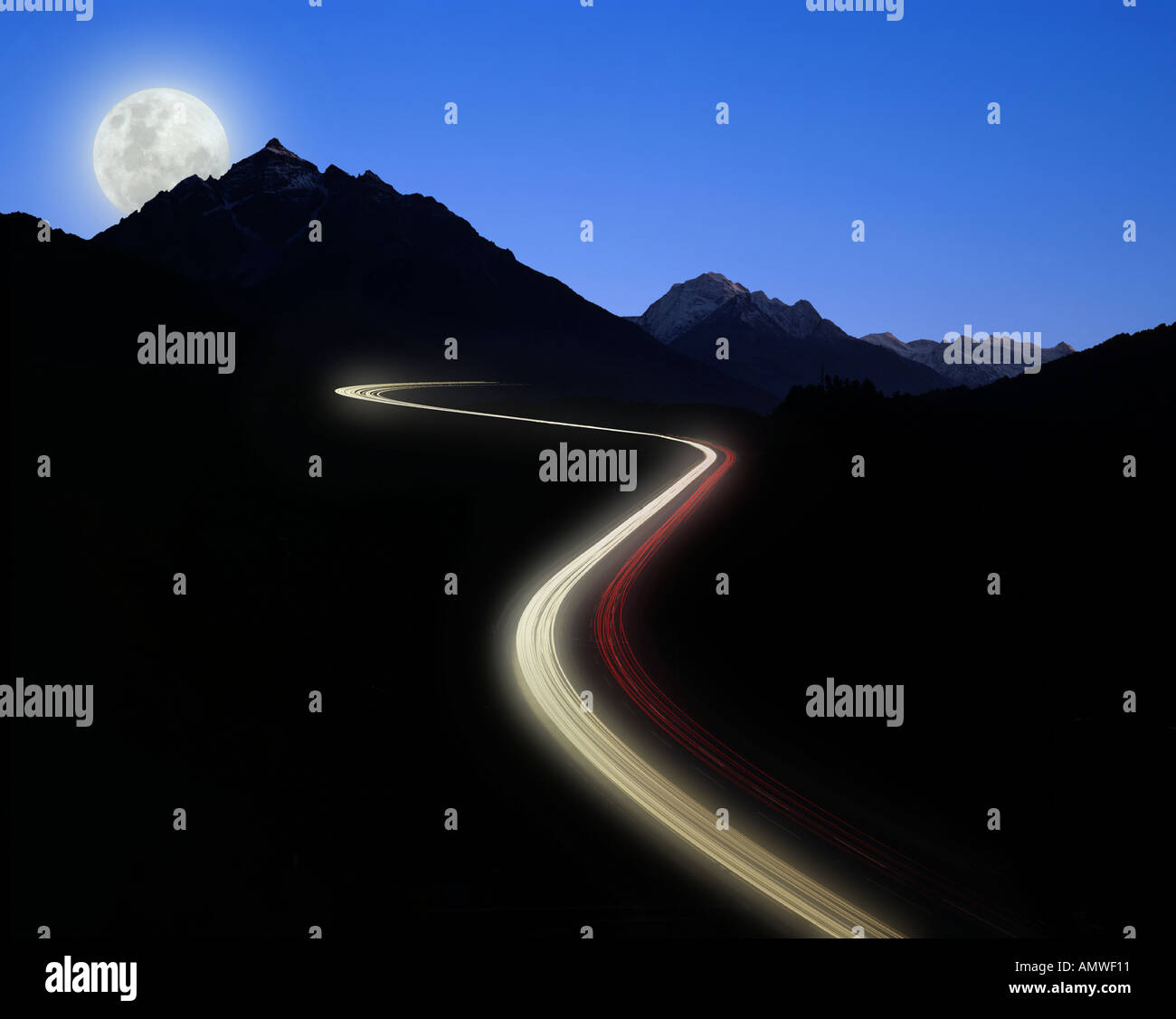 AT - TYROL: Brenner Autobahn by night - Stock Image
