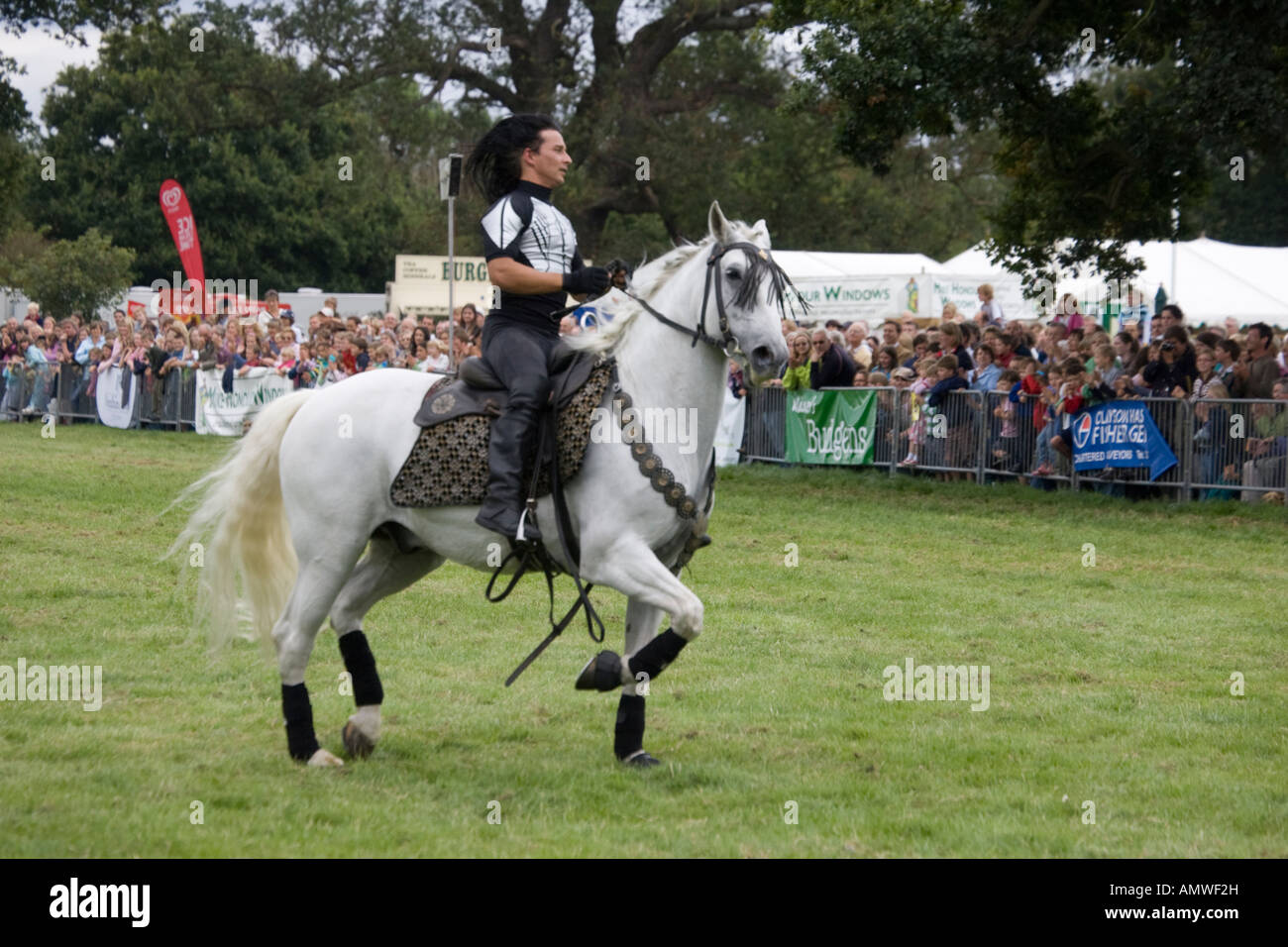 Guido Louis Russian cossack stunt rider Rockin Horse Productions team Moreton Show 2007 Cotswolds UK - Stock Image