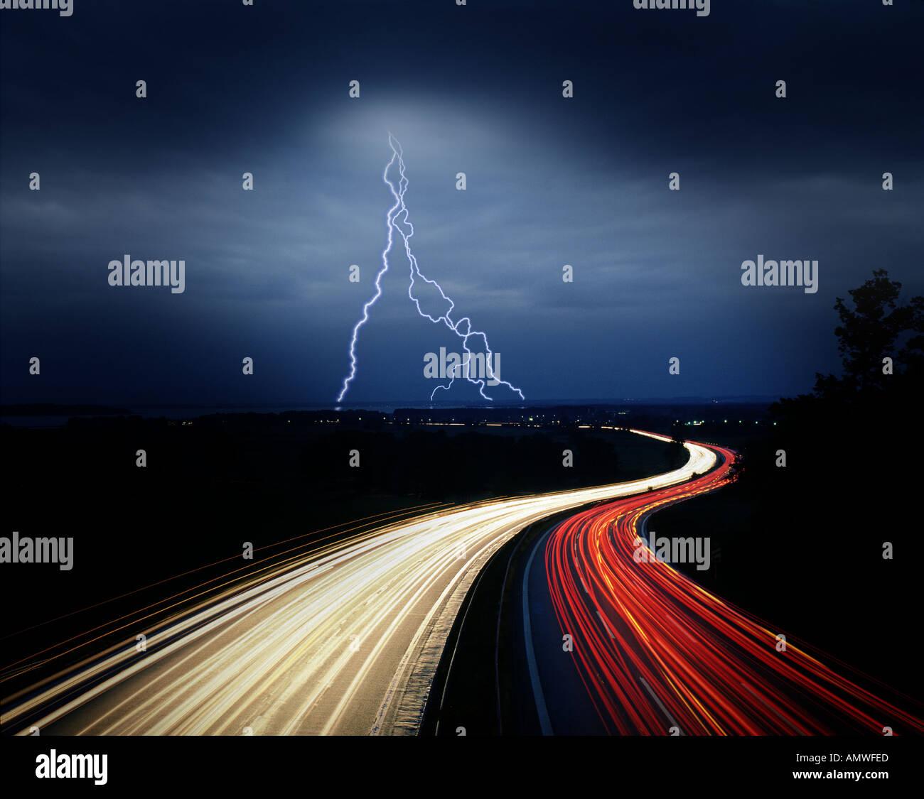DE - BAVARIA: Munich to Salzburg Autobahn by night Stock Photo