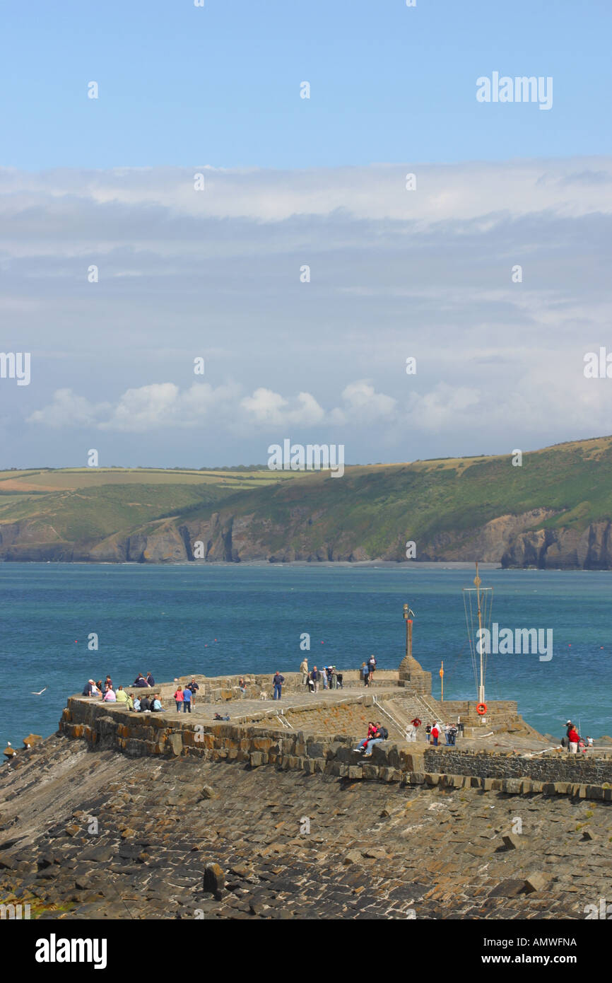 New Quay harbour wall Ceredigion Wales - Stock Image