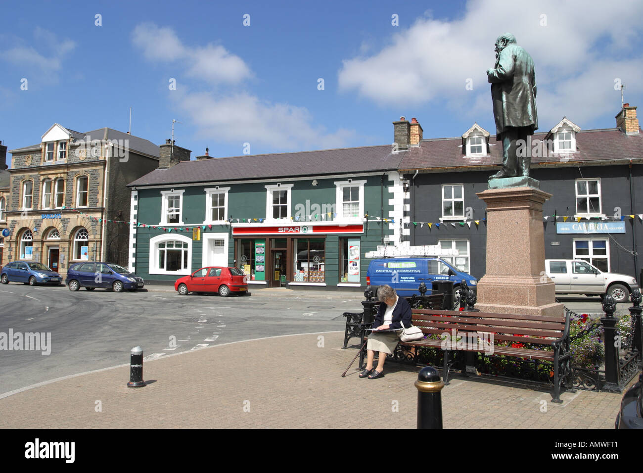 Tregaron town centre is a small rural town in Ceredigion west Wales - Stock Image