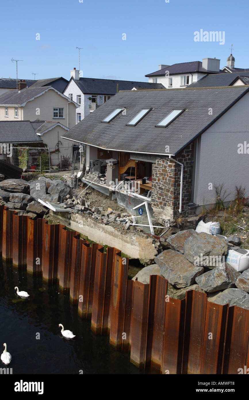 River erosion building wall collapse into the River Aeron Ceredigion west Wales - Stock Image
