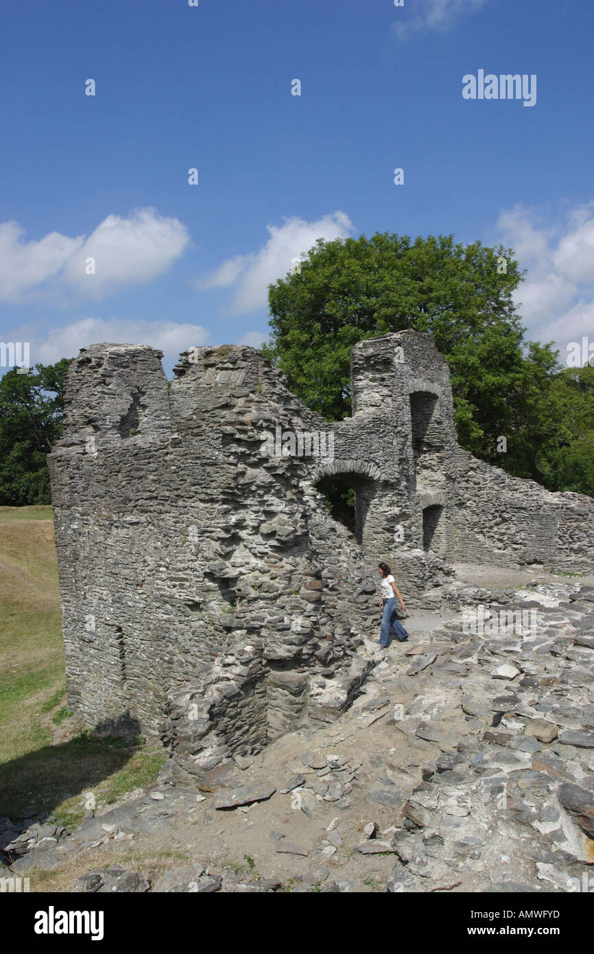 Newcastle Emyln ruined stone castle walls  Carmathanshire Wales - Stock Image