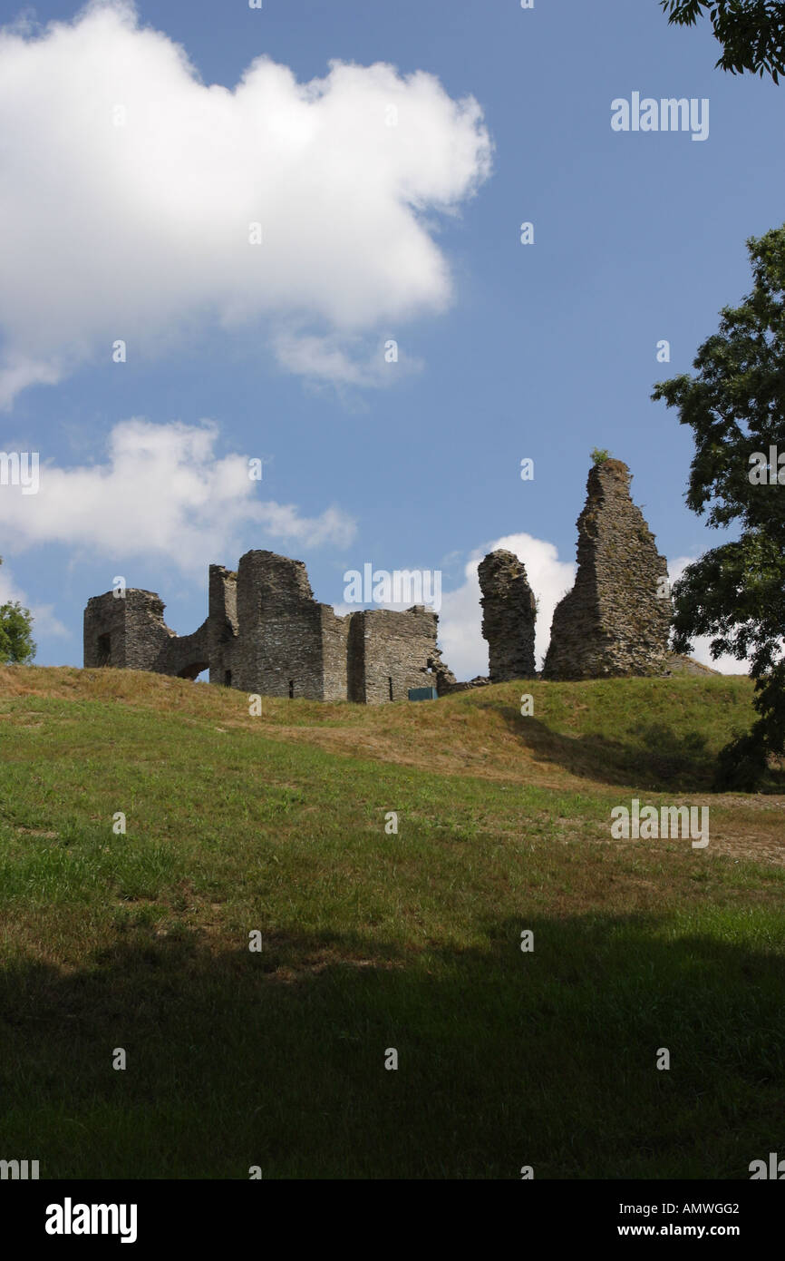 Newcastle Emyln castle ruins Carmathanshire Wales - Stock Image