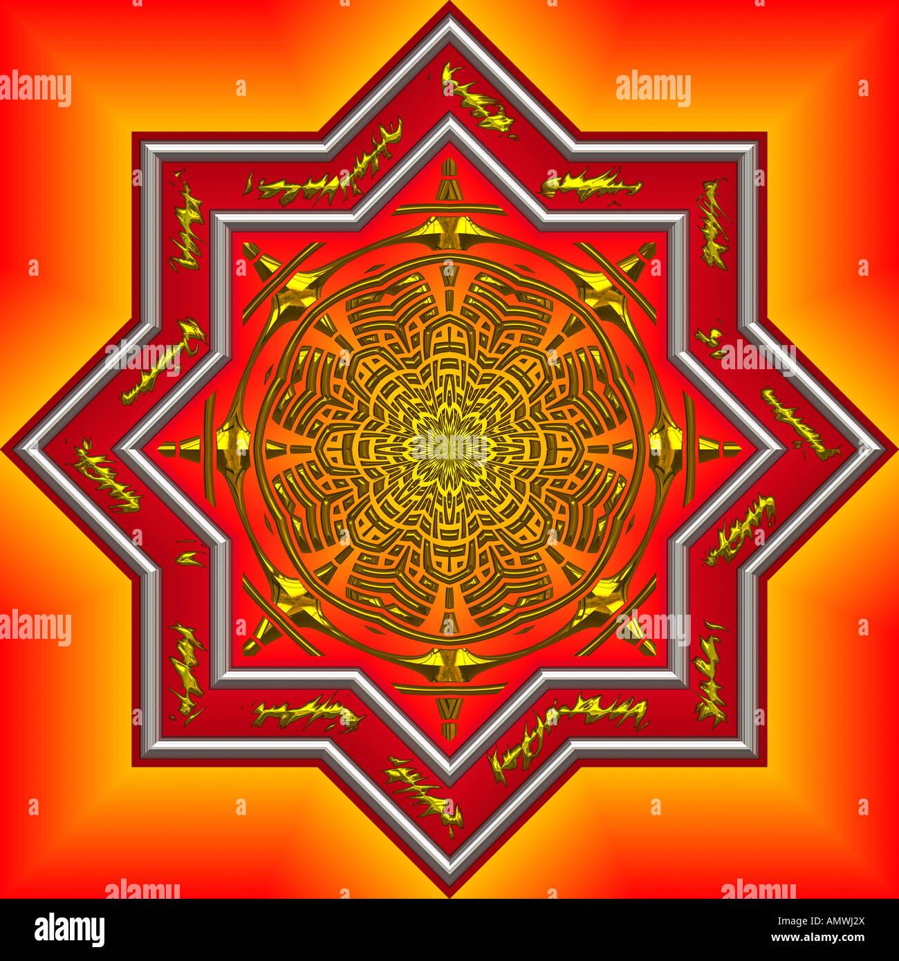 big bright and beautifully intrique mandala design - Stock Image
